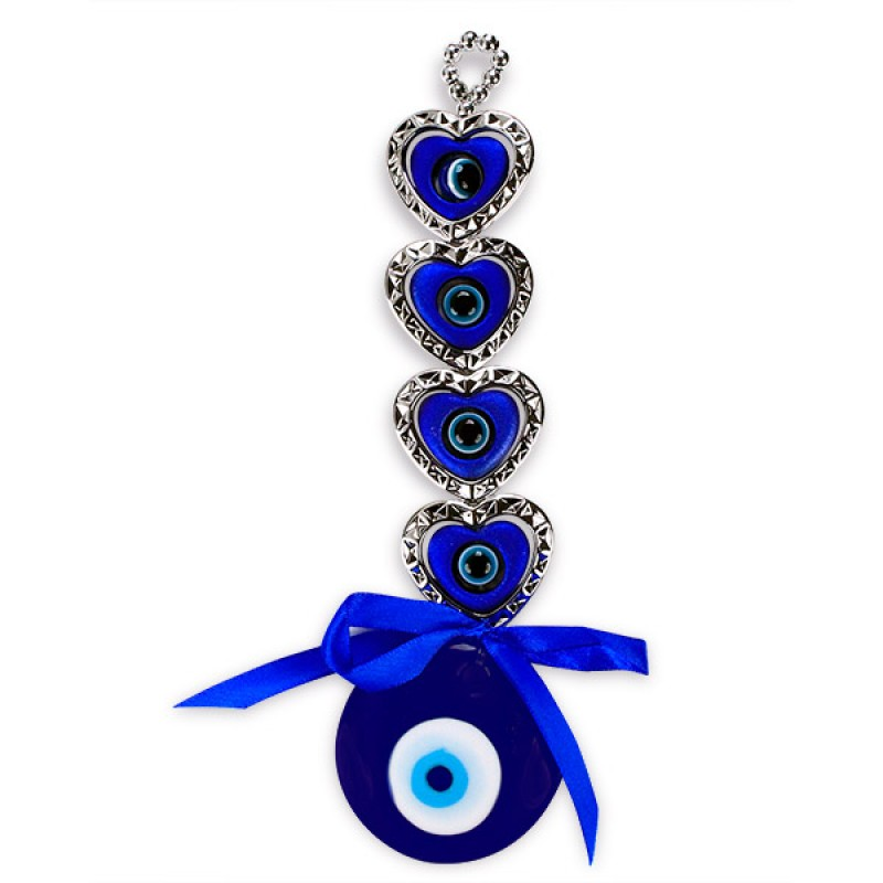 Blue Hearts Evil Eye Wall Hanging