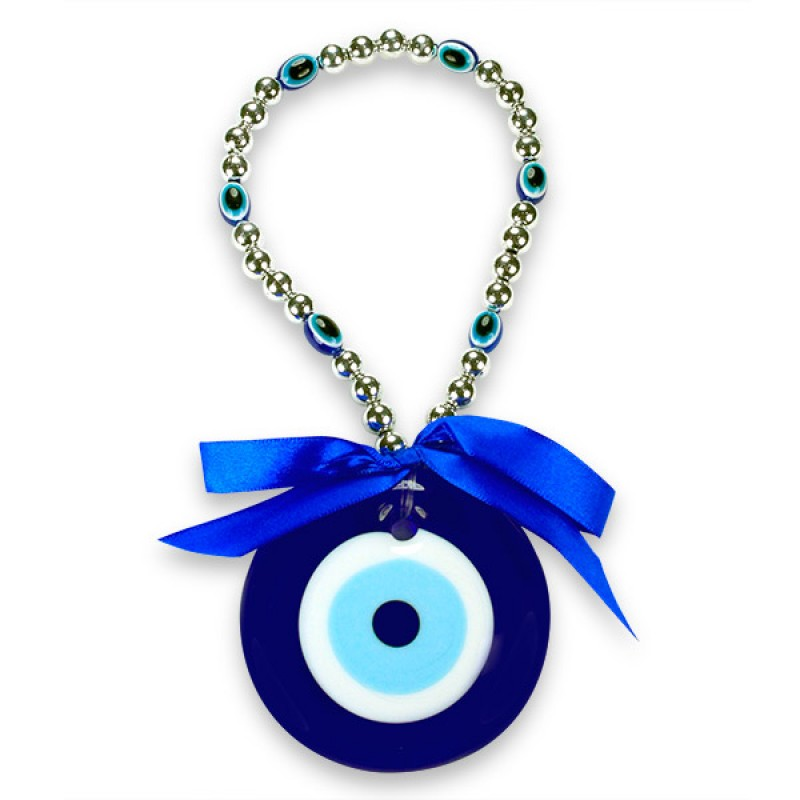 Blue Beaded Evil Eye Wall Hanging
