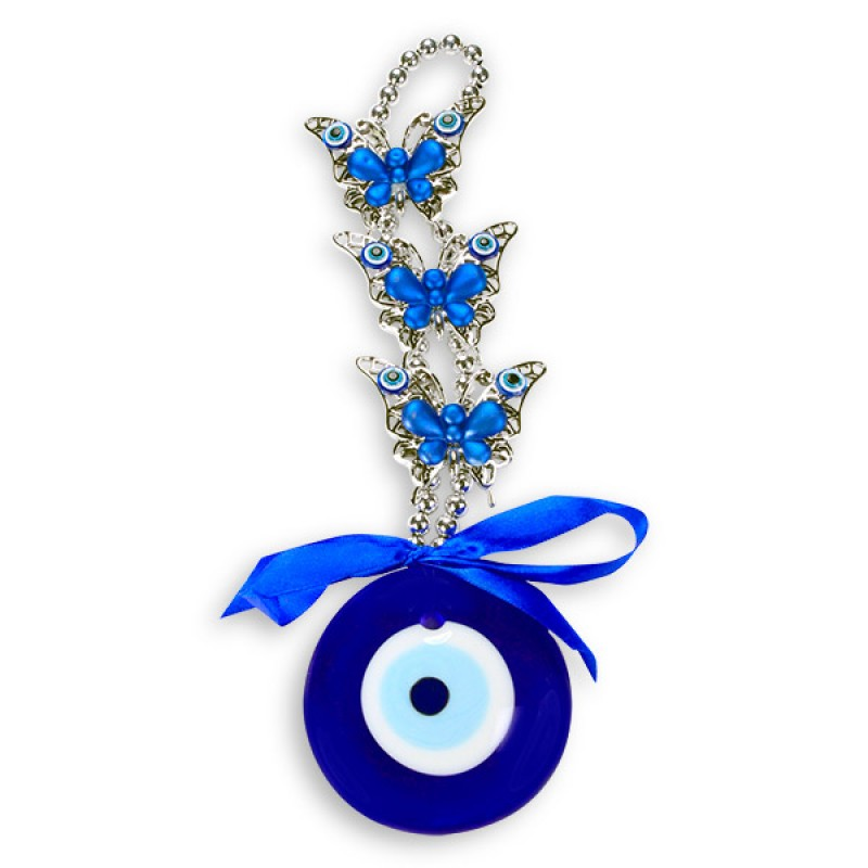 Blue Butterflies Evil Eye Wall Hanging