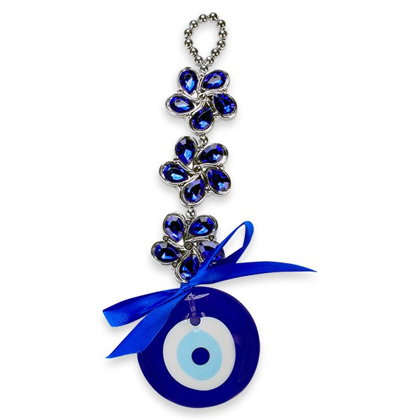 Blue Flowers Evil Eye Wall Hanging