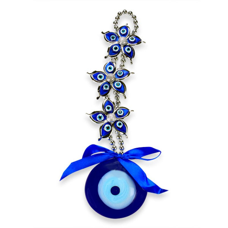 Embellished Flowers Evil Eye Wall Hanging