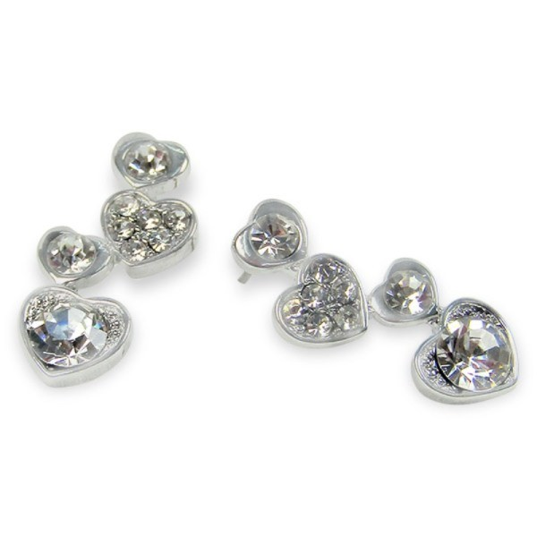 Stone Embellished Hearts Stud Earrings