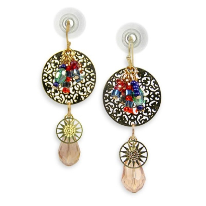 Beautiful Beaded Golden Earrings