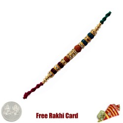 Glittering Double Rudraksh Rakhi with Free Silver Coin