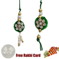 Diamond Flower Zardosi Bhaiya Bhabhi Rakhi Pair with a Free Silver Coin