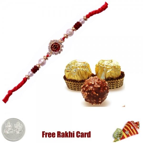 Ethnic Rakhi with 3 Piece Ferrero Rocher