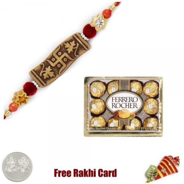 Ethnic Rakhi with 12 Piece Ferrero Rocher