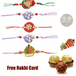 5 zardosi rakhis with 3 piece ferrero rocher