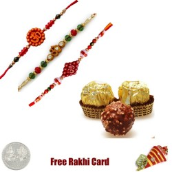 3 Rakhis with 3 Piece Ferrero Rocher