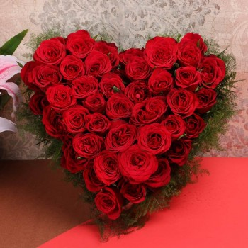 Heart-shaped Arrangement of 40 Red Roses