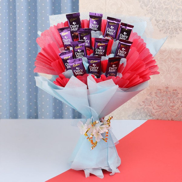 Bouquet of 10 Dairy Milk Chocolate (13.2 gm Each) in Paper Packing