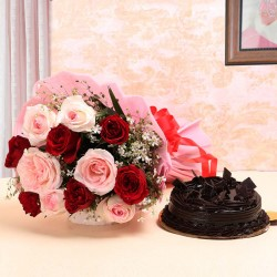 10 Roses (Red and Pink) with Half Kg Truffle Cake