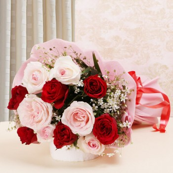 12 Roses (Red and Pink) with Pink paper packing