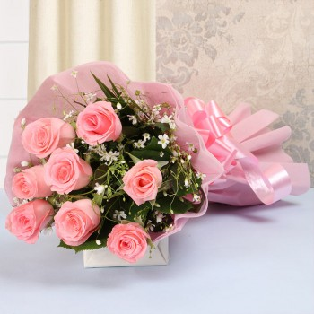 8 Pink Roses with Pink paper packing