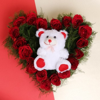 Heart-Shaped arrangement of 20 Red Roses with Teddy Bear (6 inches)