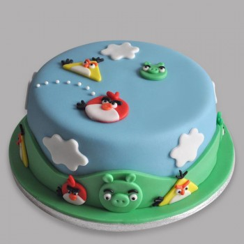1 Kg Angry Bird Theme Chocolate Fondant Cake