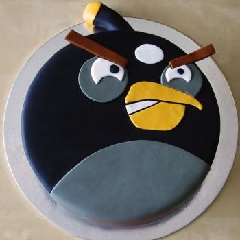 1 Kg Angry Bird Bomb Theme Chocolate Fondant Cake