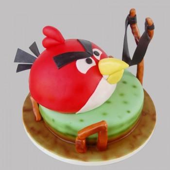 2 Kg Angry Bird Theme Chocolate Fondant Cake