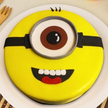 1 Kg Designer Minion Theme Chocolate Fondant Cake