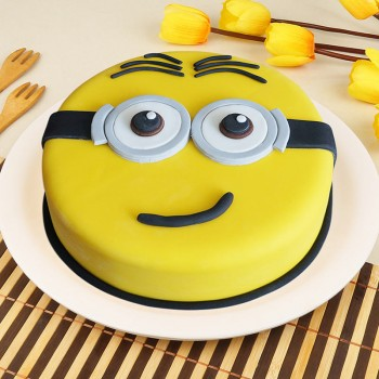 1 Kg Minion Theme Round Chocolate Fondant Cake