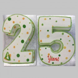 3 Kg 25 Number Theme Vanilla Cream Cake