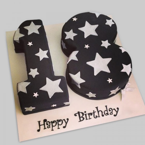 3 Kg 18th Birthday Theme Chocolate Fondant Number Cake