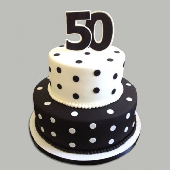 2.5 Kg 2 Tier Chocolate Fondant Cake for 50th Anniversary or Birthday Celebrations