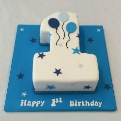 1.5 Kg 1st Birthday Theme Chocolate Fondant Number Cake
