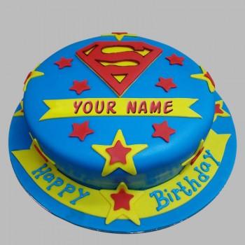1 Kg Superman Theme Chocolate Fondant Cake for Birthday