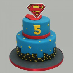 Two Tier Superman Cake