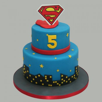 2.5 Kg Superman Theme 2 Tier Chocolate Fondant Cake