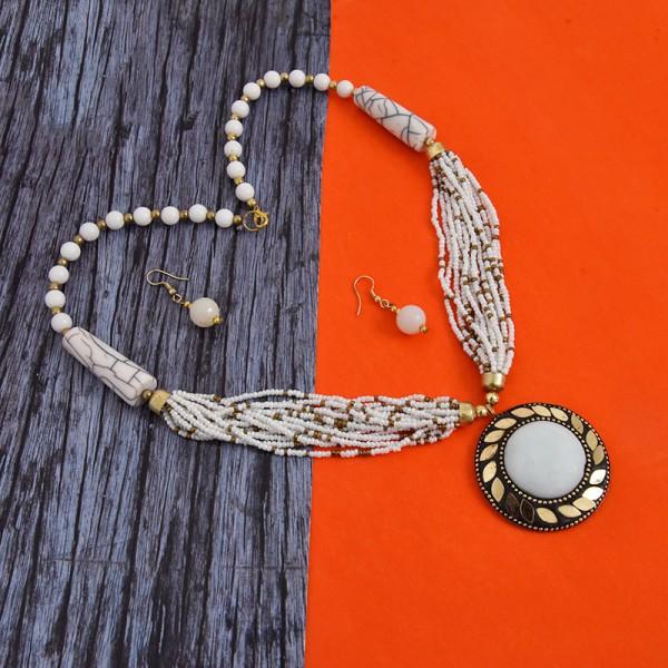 White Pearl Designer Stone Necklace