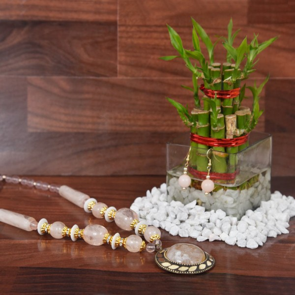 White Pearl Necklace with Lucky Bamboo