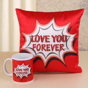 Love You Forever Mug and Cushion
