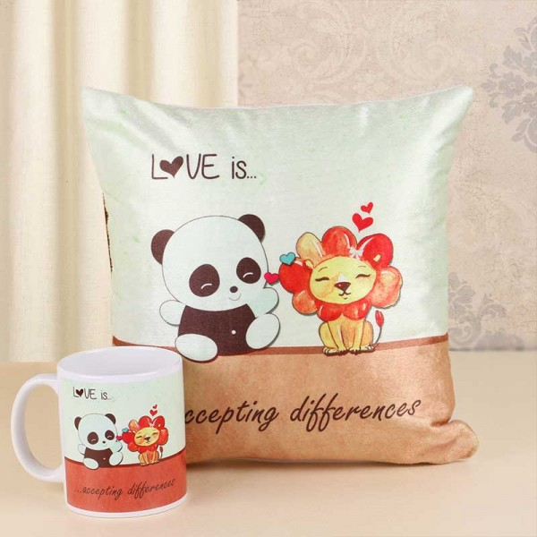 Teddy Lion Printed Cushion and Mug