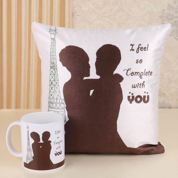 Love Theme Printed Mug and Cushion