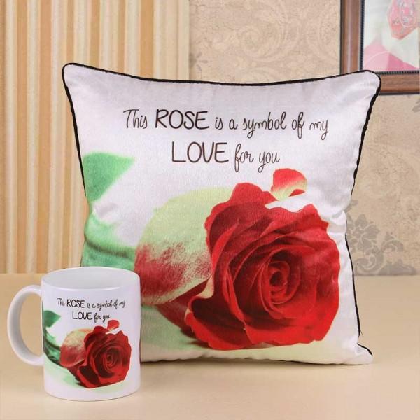 Rose Day Printed Mug and Cushion
