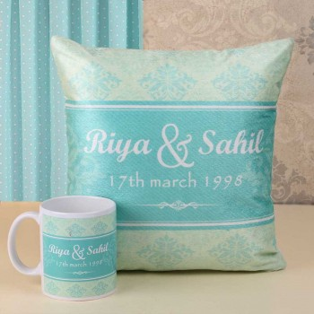 Personalised Name Printed Cushion and Coffee Mug