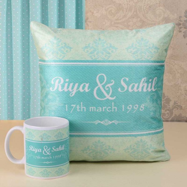 Personalised Name Printed Cushion and Coffee Mug
