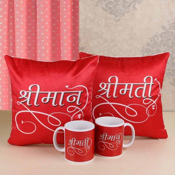 Printed Cushions and Mug for Couple