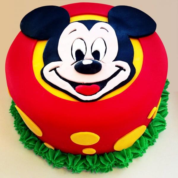 One Kg Mickey Mouse Cartoon Chocolate Fondant Cake