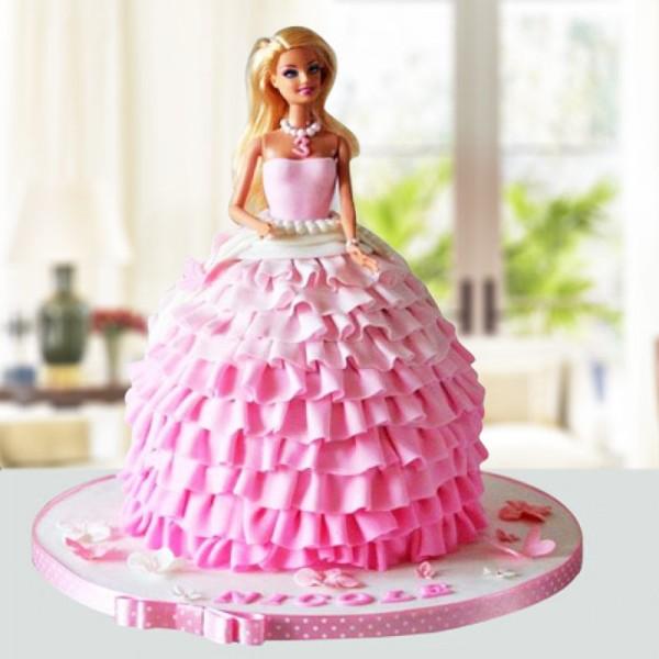 2 Kg Pink Dress Barbie Vanilla Fondant Cake