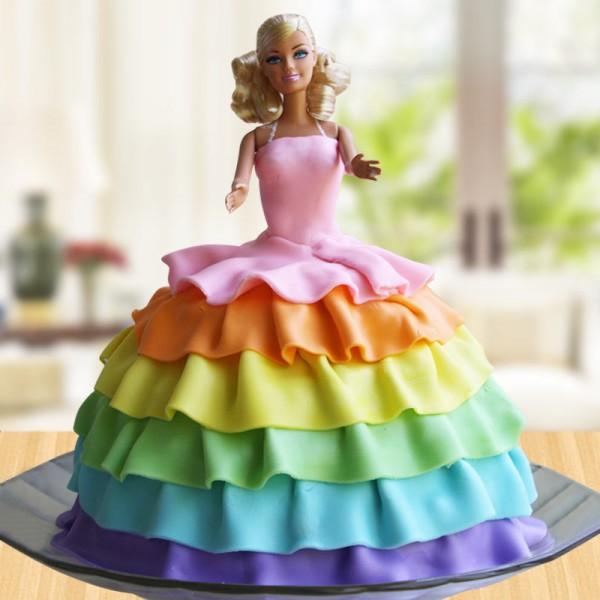 2 Kg Rainbow Design Barbie Theme Vanilla Fondant Cake