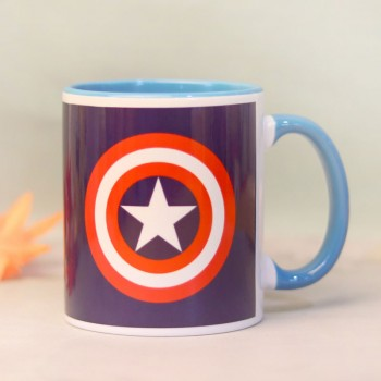 One Captain America Theme Personalised Blue Handle Mug
