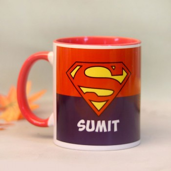 One Superman Theme Personalised Red Handle Mug