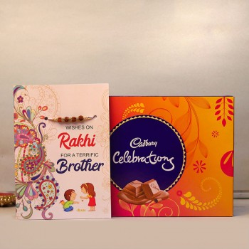 Blessed Rakhi Card with Cadbury Celebrations
