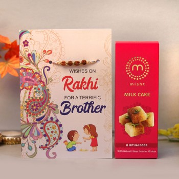 Blessed Rakhi Card with Milk Cake
