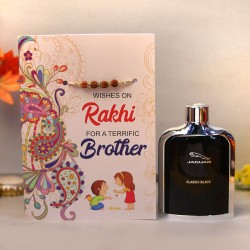 Rudraksha Rakhi Card with Jaguar Perfume