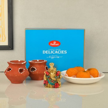 Metal Ganesha with Matka Diya and Motichoor Ladoo for Diwali
