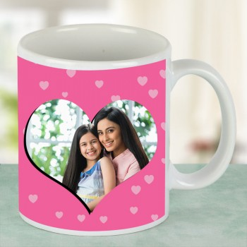 Heart Design Printed Personalised Coffee Mug for Mother